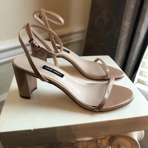 Nine West Nude Strappy Sandals, Size 7